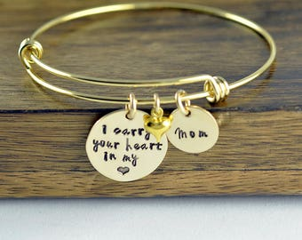 Remembrance Bracelet, Loss of Loved One, Personalized Hand Stamped Bangle Bracelet, I Carry Your Heart In My Heart, Name Bracelet