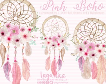 Pink Floral Dreamcatcher Watercolor clipart, PNG, wedding, bouquet, arrangement,  digital art, pink flowers, bridal shower, for blog banner