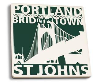 Portland, Oregon - St. Johns Bridge - LP Artwork (Set of 4 Ceramic Coasters)