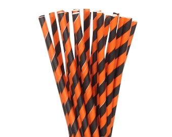 Paper Straws, Orange and Black Striped Paper Straws, Halloween Party Decor, Trick or Treat Supplies, Fall Carnival Per Goods, Cake Pop Stick