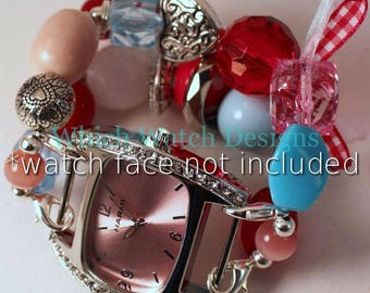 Queen of Hearts.. Darling Red, Pink, and Baby Blue Interchangeable Beaded Watch Band