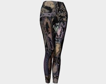 Steampunk-Leggings für Frauen, eulenmuster, Hose abstrakten Yoga von Felicianation Tinte