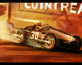 Vintage Grand Prix Automotive Art 12x18 Metallic Print