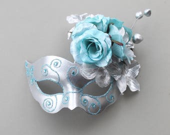 Swan Masquerade Mask Ice Blue or Purple Black, Floral