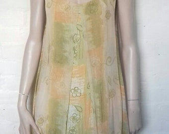 1990's summer maxi dress with orange and green floral design by Pario - size S/M