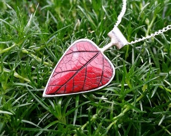 Reversible Silver and Red Leaf Pendant
