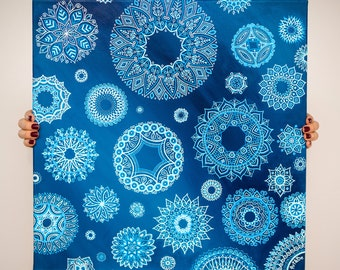 Original painting on canvas - Winter Blues (Fine art - artwork)