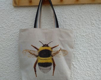 Bumble Bee Tote bag with cotton webbing handles