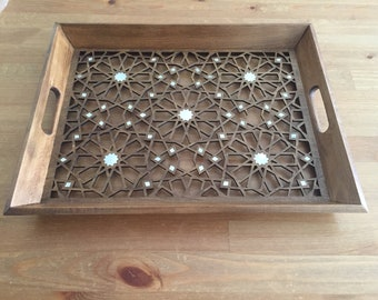Wooden Tray / Large Size, Wooden serving Tray, Tea tray, Tray inlaid with mother of pearl, Stylish tray, Luxury tray
