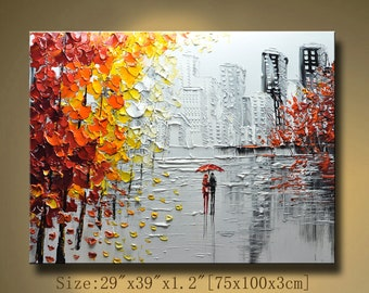 contemporary wall art,Palette Knife Painting,colorful Park painting,wall decor  Home Decor,Acrylic Textured Painting ON Canvas by Chen new55