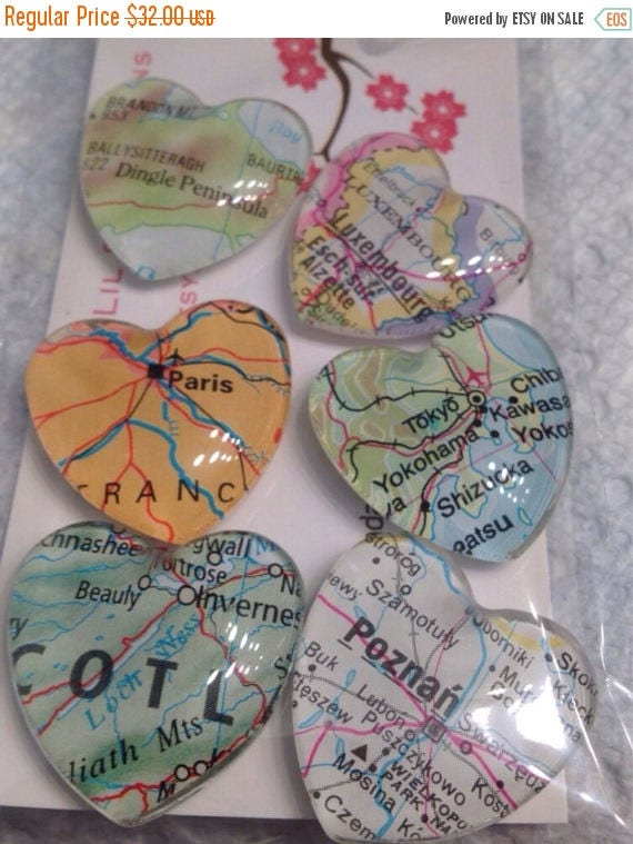 6 Glass Fridge Magnets World Maps set of 6