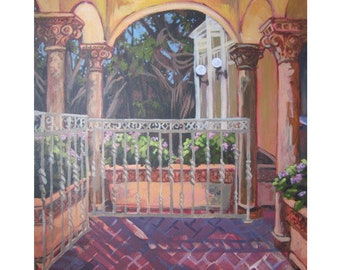 PRINT of the porch at the Deering Estate