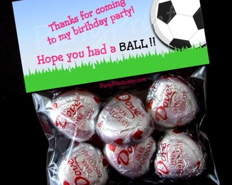 INSTANT DOWNLOAD - Printable Treat Bag Toppers - Soccer BALL Birthday Party