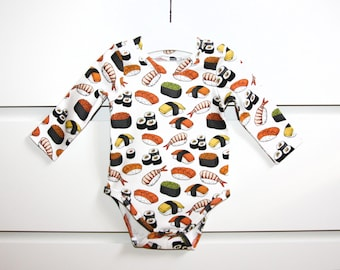 Baby bodysuit, baby onepiece, organic cotton, long sleeve onesie, long sleeve bodysuit, Sushi Roll, baby boy bodysuit, baby girl bodysuit