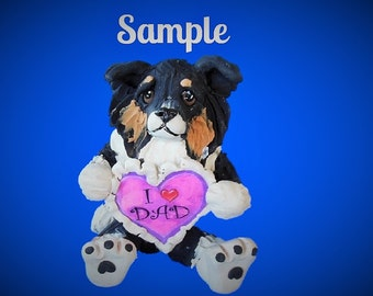 Tri-Colored Australian Shepherd Dog Sculpture love DAD OOAK Clay art by Sallys Bits of Clay