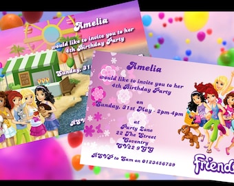 Lego Friends - Personalised Children's Party Invitations - Pack of 10 - 2 Designs