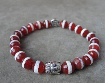 Karneol Achat Perlen Armband. Buddha Zen Perlen. Herrenschmuck. Geschenk für ihn. Yoga-Schmuck. SydneyAustinDesigns.