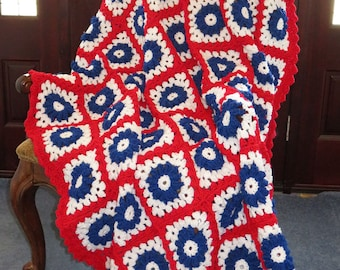"""Large Patriotic Afghan Blanket - Red White Blue - Veteran Military Family Patriot Gift - Valentine Day - 72""""x60"""" - Hand Made USA Item 4923"""