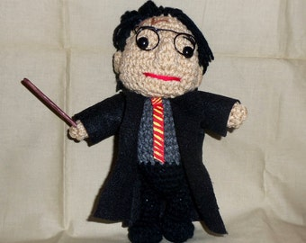 Harry Potter Doll 7 Inch Crocheted with Wand and Robe  Ready to Ship