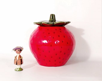 Bright Red Ceramic Strawberry Cookie Jar