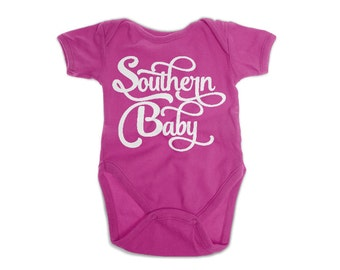 Southern Baby Bodysuit | Pink Onesie | New Orleans Onesie | Southern Bodysuit | NOLA Onesie | Baby Shower Gift | New Baby Gift