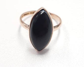 Beautiful Antique 9ct Rose Gold Black Banded Onyx Navette Marquise Ring - Size R / 8.75
