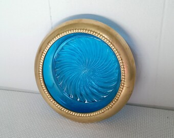 Vintage Cobalt Blue Glass and Brass Round Ashtray