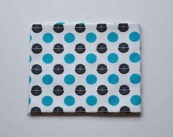 Coupon tissu popeline - coupon 45x48cm - motif pois et pistils de fleurs - marron, blanc et turquoise