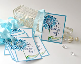 Daisy Thank You Tags, Blue Daisy with Glitter, Set of 8 Gift Tags, Have a Beautiful Day Tags