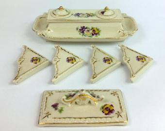 Beautiful Vintage Porcelain Desk Set with Violets