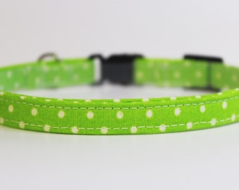 Green Cat Collar Polka Dots | Breakaway Cat Collar | Handmade | Adjustable | Small Dog Collar | Pet Collar | Safety Cat Collar | Pet Gift