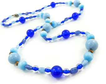 Vintage, Blue Bead, Necklace, Plastic, Gold Tone, Metal Beads, STD105
