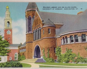 University of Vermont, Vintage postcard, Burlington VT, Linen postcard, 1940's