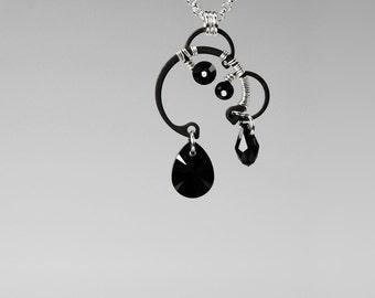 Black Swarovski Crystal Pendant, Industrial Necklace, Jet Swarovski, Statement Jewelry, Simple Pendant by Youniquely Chic, Sedna v4