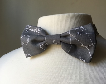 Gray Math Equation bow tie, Mens bowtie