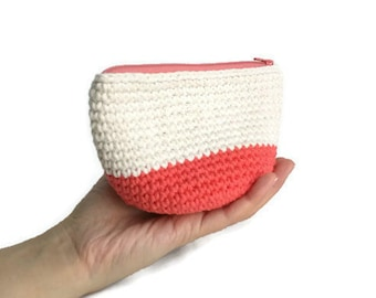 Makeup Bag with Zipper and Lining, Cotton Accessories Pouch Clutch, Toiletries Bag, Crochet Makeup Zip Bag, Knit Pattern Lined Pouch