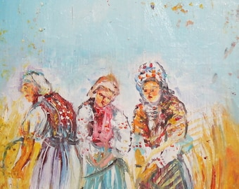 Contemporary field workers oil painting signed