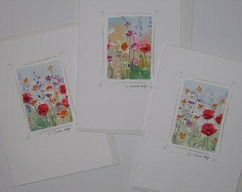 Original watercolor notecards, handmade cards, flower cards, original paintings.