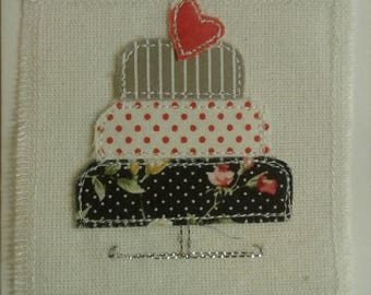 Original Textile Art Hand Made Wedding/Birthday/Celebration Cake Greetings Card
