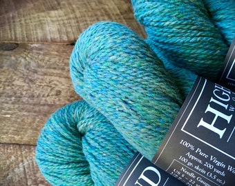 Wool yarn - Highland wool yarn, Worsted Weight, Woodsmoke, teal yarn, wool knitting yarn, crocheting yarn, worsted wool