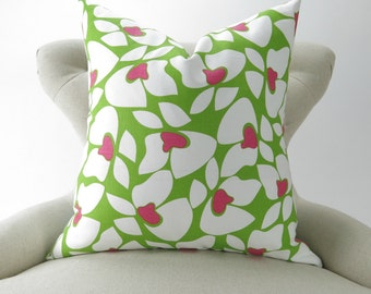 Lime Green Pillow Cover, Throw Pillow, Accent Pillow, Chartreuse & Hot Pink Floral Pattern, Nursery Decor -MANY SIZES- Premier Prints Helen