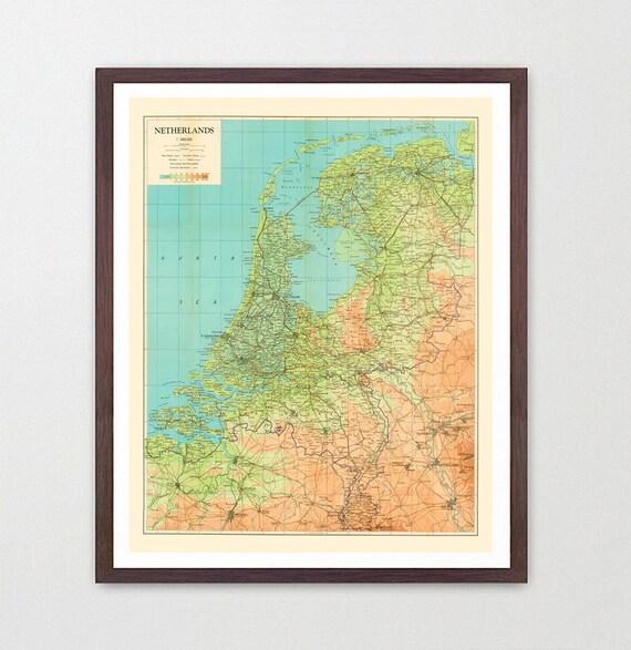 Netherlands Map - Netherlands Map Art - Map Decor - Netherlands Art - Amsterdam Art - Amsterdam Wall Art - Dutch Map - Dutch Art - Holland