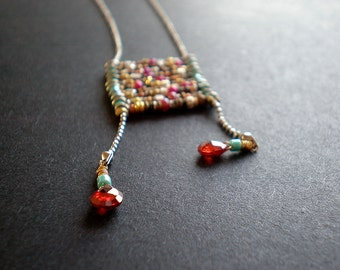 Birthday Gift Teen Girl - Boho Ladder Necklace - Bohemian Chic - Textured Mixed Metal Beads - Colorful Hippie Necklace - Red Teardrop
