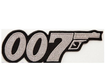 007 Patch James Bond Embroidered Iron / Sew on Badge Costume Cosplay Applique Motif Bag Hat T-Shirt Tuxedo Spy MI5 Collectible Souvenir
