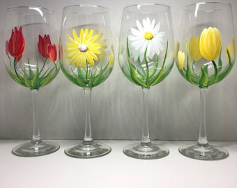 Pretty Spring flowers hand painted wine glasses