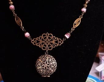 """20"""" Scent Diffuser Locket with Pink Cat Eye beads"""