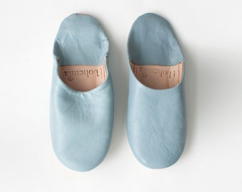 Men's Leather Slippers    Traditional Moroccan Babouche    Hand Dyed With Natural Colour    Pearl Grey