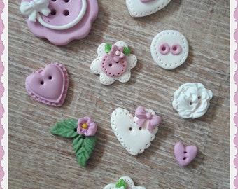 "Handmade Buttons ""Sweet Girl"" - set of 10 polymer clay buttons."