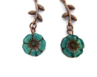 Green Beach Glass Flower Earrings in Copper