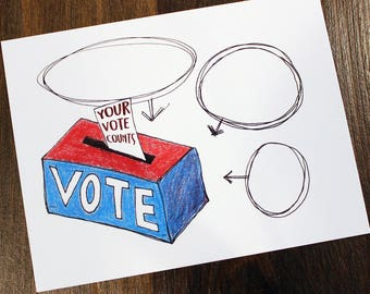 Your Vote Counts - Printable Postcards to Voters - Hand Drawn Color Pencil Postcard - Political Postcards - Instant Download